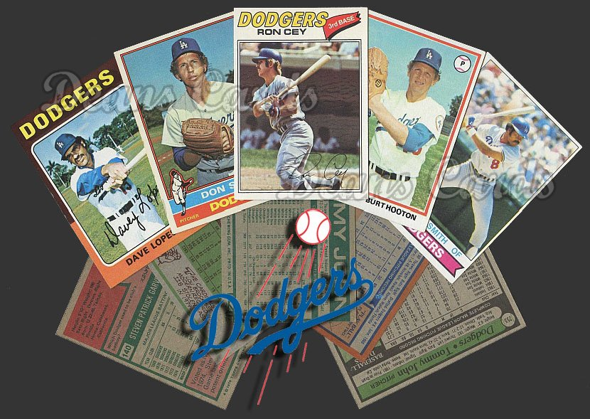 1975 Topps  -79  Los Angeles Dodgers 50 Card Team Starter Set / Lot